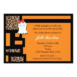 Invitation de baby shower de fantôme et de léopard