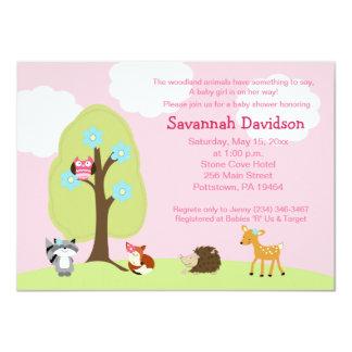 Invitation de baby shower de fille d'animaux de carton d'invitation  11,43 cm x 15,87 cm