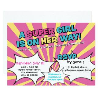 Invitation de baby shower de fille de superhéros