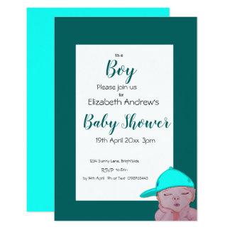 Invitation de baby shower de garçon bleue et verte