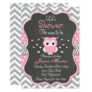 Invitation de baby shower de hibou, Chevron,
