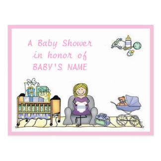 Invitation de baby shower de huche et de poussette cartes postales