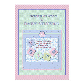 Invitation de baby shower de jumeaux