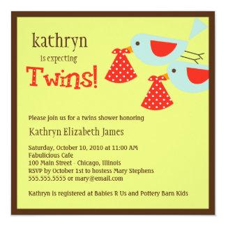 Invitation de baby shower de jumeaux