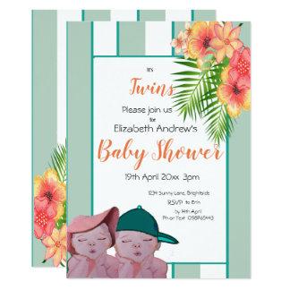 Invitation de baby shower de jumeaux floral avec