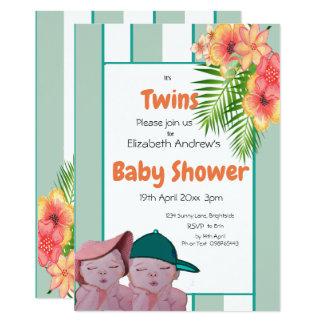 Invitation de baby shower de jumeaux floral et