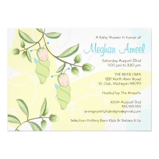 Invitation de baby shower de jumeaux - papillons