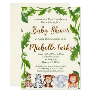 Invitation de baby shower de jungle, invitation de