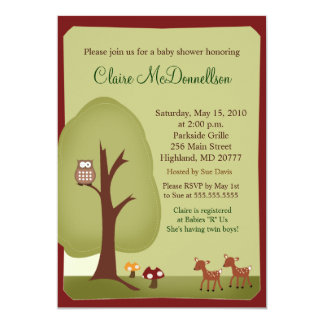 Invitation de baby shower de la forêt 5x7 de
