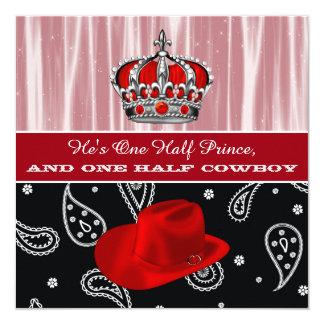 Invitation de baby shower de prince et de cowboy