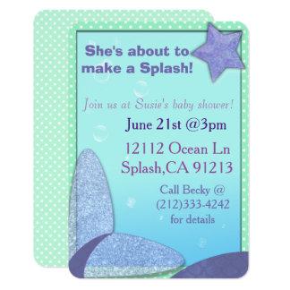 Invitation de baby shower de queue de sirène