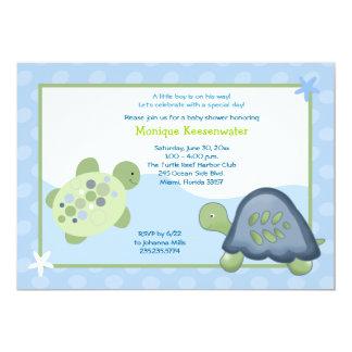Invitation de baby shower de récif de tortue - carton d'invitation  12,7 cm x 17,78 cm