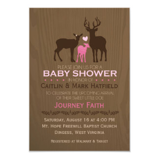 Invitation de baby shower de rose de cerfs communs