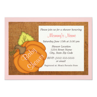 Invitation de baby shower de rose de citrouille de