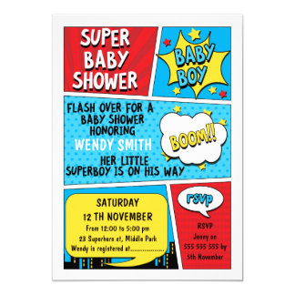 Invitation de baby shower de super héros de
