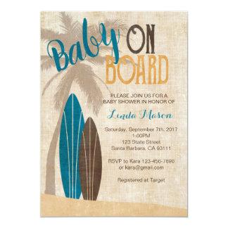 Invitation de baby shower de surf avec des