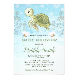 Invitation de baby shower de tortue sous l'océan