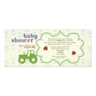 Invitation de baby shower de tracteur/coccinelle