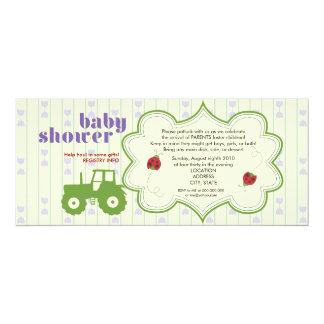 Invitation de baby shower de tracteur/coccinelle carton d'invitation  10,16 cm x 23,49 cm