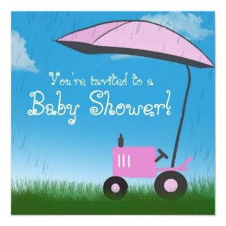 Invitation de baby shower de tracteur : Tracteur Carton D'invitation 13,33 Cm