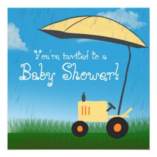 Invitation de baby shower de tracteur : Tracteur j