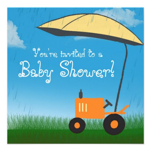 Invitation de baby shower de tracteur : Tracteur o