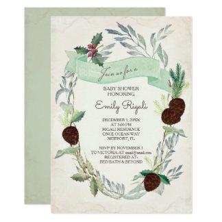 Invitation de baby shower de verdure d'hiver