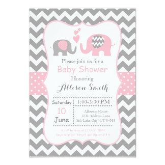 Invitation de baby shower d'éléphant, Chevron
