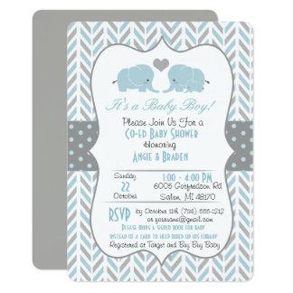 Invitation de baby shower d'éléphant de gris bleu