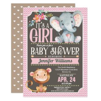Invitation de baby shower d'éléphant et de singe