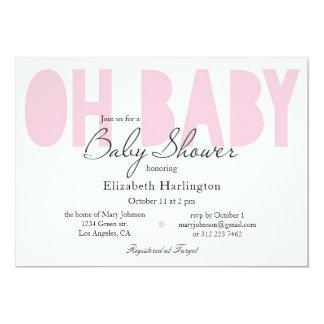 Invitation de baby shower. Moderne rose. Oh bébé