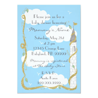 Invitation de baby shower. Or/château argenté