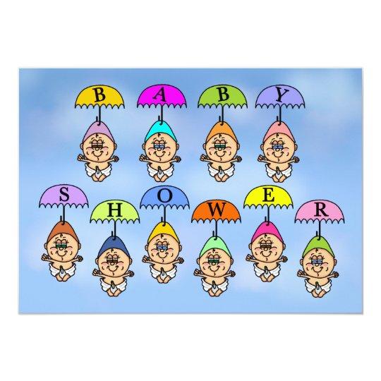 Invitation de baby shower - parapluies de douche