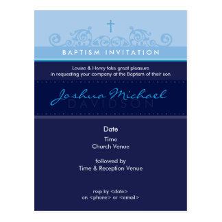 INVITATION DE BAPTÊME 6 élégants Carte Postale