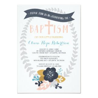 Invitation de baptême, baptême floral et