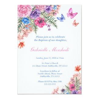 Invitation de baptême, baptême floral, invitation