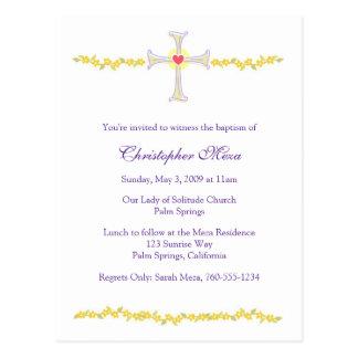 Invitation de baptême, croix avec le coeur cartes postales