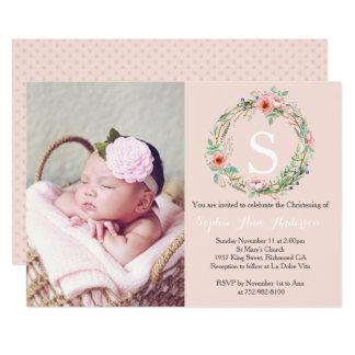 Invitation de baptême de filles - guirlande rose