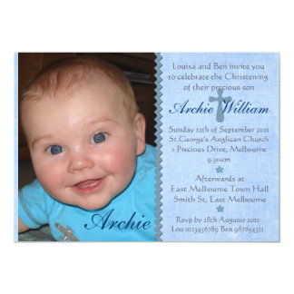 Invitation de baptême de photo de bébés - archie