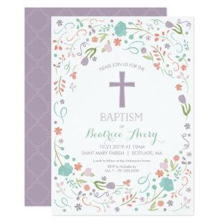 Invitation de baptême - personnaliser, fleurs,