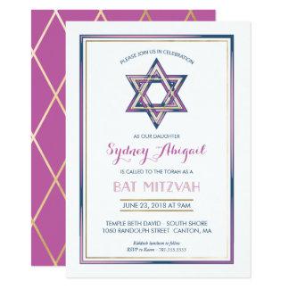 Invitation de bat mitzvah - personnaliser, or,
