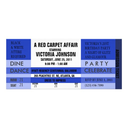 Invitation de billet d admission bleu