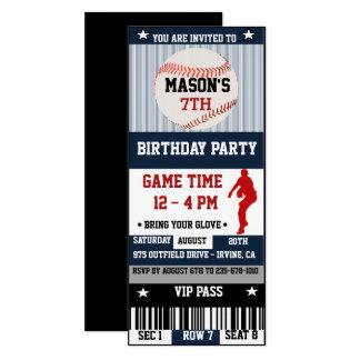 Invitation de billet d'anniversaire de base-ball