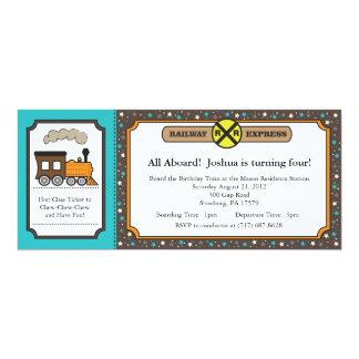 Invitation de billet de train - turquoise et carton d'invitation  10,16 cm x 23,49 cm