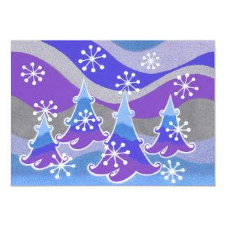 Invitation de bleu d'arbres d'hiver