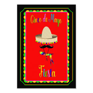 Invitation de Cinco De Mayo - casquette/moustache