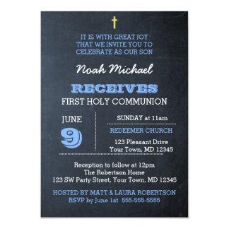 Invitation de communion de bleu de tableau