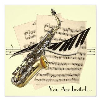 Invitation de conception de musique de saxophone