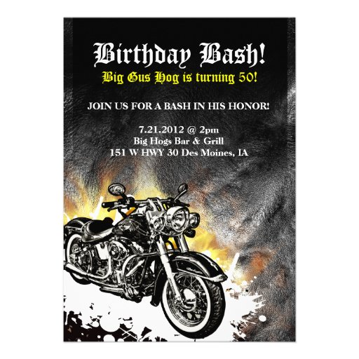 Invitation de coup d'anniversaire de route de mota