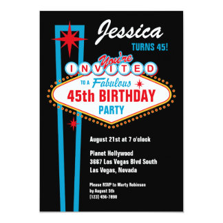 Invitation de coutume de Las Vegas Carton D'invitation 12,7 Cm X 17,78 Cm